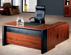 Simple MDF Wood Veneer Office Table Set Design
