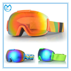 Anti Fog Interchangeable Lens Skiing Goggles with Elastic Head Strap