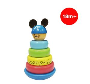 Wooden Children Mouse Stacking Stacking Rings Toy