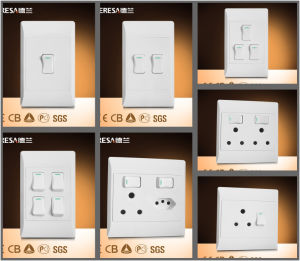 Electrical 2 Gang Lighting South Africa Wall Switch and Socket pictures & photos