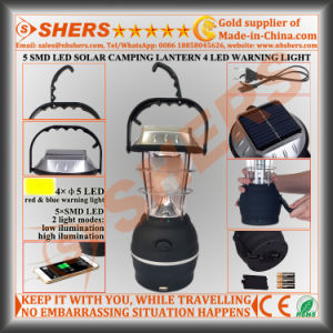 5 SMD LED Solar Camping Lantern 4 LED Warning Light USB Outlet