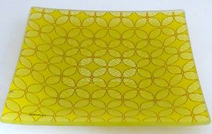 Rural Retro Stylish Yellow Flower Decorative Tempered Glass Plate
