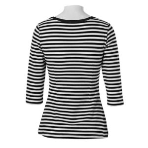 Half Sleeves Black and White Stripes T Shirt for Women pictures & photos