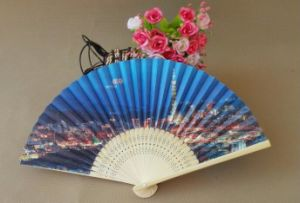 Cheap and Customized Plain Bamboo Paper Fan From Manufacturer
