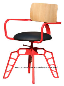 Industrial Metal Restaurant Dining Furniture Red Plywood Wooden Swivel Chairs pictures & photos