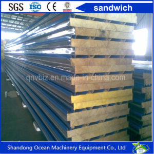 Rock Wool Sandwich Panel for Roof Panel Wall Panel Made of Steel Sheet PPGI Steel Sheet Color Coated Steel Sheet of Good Quality Cheap Price pictures & photos