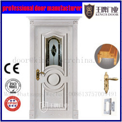 European White Wooden Door with Copper Glazing Design pictures & photos