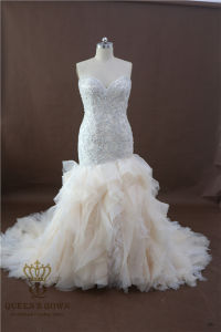 Women fashion Embroidery Beads Appliques Organza Wedding Dresses Sweep Train Bridal Gown