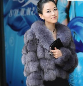 2015 Hot Style Women Real Fox Fur Winter Coat