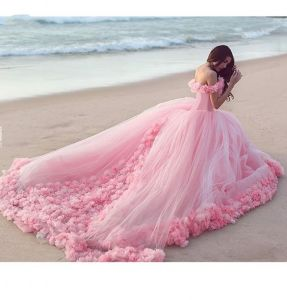 Pink Tulle Bridal Ball Gown Puffy Flowers Wedding Dress HD41 pictures & photos