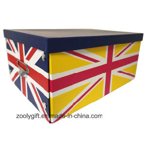 Multipurpose Custom Printing Paper Cardboard Foldable Storage Box with Metal Button and Handle pictures & photos