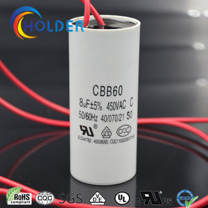 Metallized Polypropylene Film AC Motor Start Capacitor (CBB60 805/450) with Red Cable