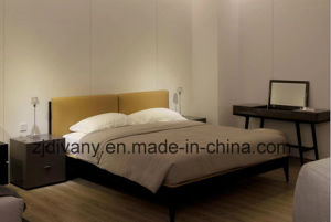 Japanese Style Leather Wood Double Bed (A-B40) pictures & photos
