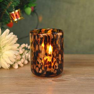 Black Swirl Design 4 Golden Glass Tea Light Candle Holder