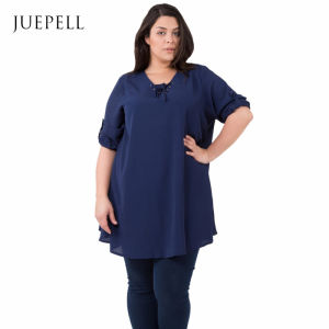 Marine Plus Size Casual Chiffon Blouse for Fat Women pictures & photos