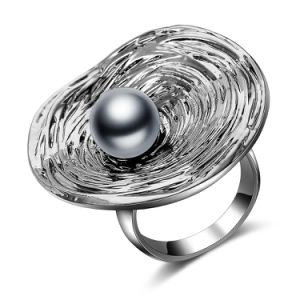 Antique Silver Plated Crystal Black Pearl Body Imitation Jewelry Ring