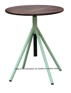 Industrial Metal Restaurant Wooden Vintage Swivel Green Dining Table pictures & photos