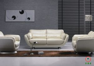White Leather Living Room Sofa