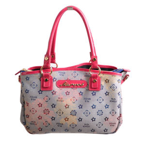 Ladies Jacquard Fabric Handbag/Cow Leather Bag (M10115)