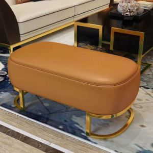 Tremendous Yellow Color Leather Stool Ottoman For Living Room Furniture L02 Machost Co Dining Chair Design Ideas Machostcouk