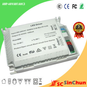 High Efficiency 60W 48-60V External LED Driver, AC LED Power Supply 3 Years Warranty