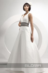 Halter Satin Belted Wedding Dress ( Pb8073)