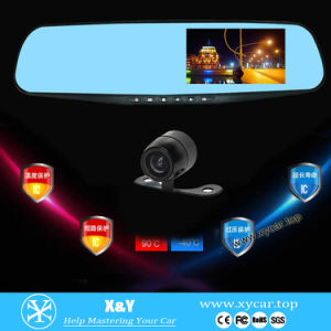 "HD 4.3"" LCD Dual Lens Dash Cam Video Recorder Night Vision Car Camera DVR Rearview Mirror Front Car DVR"