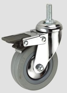 3inch Gray Rubber Thread Industry Caster with Brake