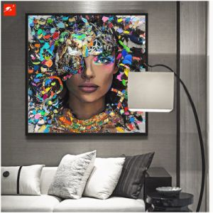 Framed Wall Art Black Woman Canvas Oil Painitng