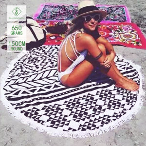 Wholesale Qualified Microfiber Printed Round Beach Towel with Tassel [Order]
