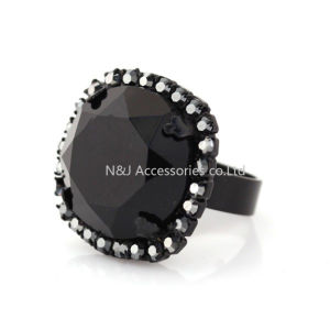 Square Black Glass Design Rings for Women Banquet Party Charms Rings Female Holiday Birthday Gifts