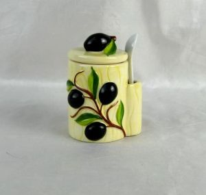 Hand-Painted Ceramic Sweet Jar with Spoon pictures & photos