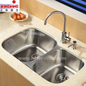 Under Mount Double Bowl Stainless Steel Kitchen Sink (8553AL) pictures & photos