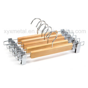 Wholesale Wooden Pants Hangers with Width Adjustable Clips pictures & photos