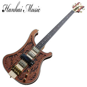 Hanhai Music / Red Brown Ricken Style Electric Bass Guitar with 4 Strings and Gold Hardware pictures & photos