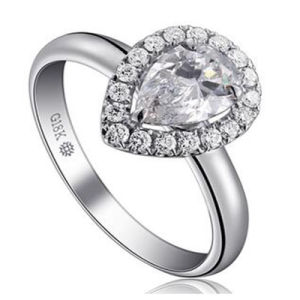 Wonderful Pear Shape Briliant Synthetic Diamond Fashion Wedding Ring Jewelry pictures & photos