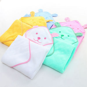 100%Cotton Embroidery Baby Infant Hoody Poncho Bath Towel with Ears