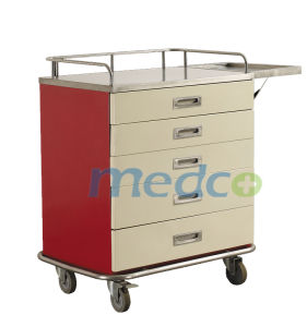 Painted Steel Nursing Treatment Cart Medical Trolley for Patient pictures & photos