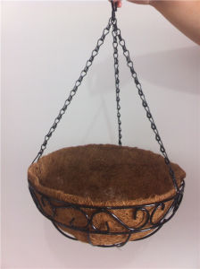 Artificial Flower Hanging Baskets/ Wholesale Wire Hanging Baskets with Coco and Iron Chain pictures & photos