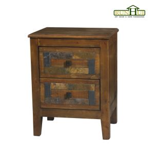 2 Drawer Distressed Wooden Chest with Marble Inlay on Panel