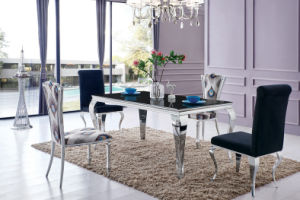 Modern High End Glass Top Stainless Steel Dining Table Sets with Black Chairs pictures & photos