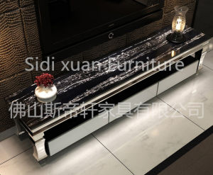 Luxury Home Furniture Fashionable Glass Top TV Stand Woodern Table pictures & photos