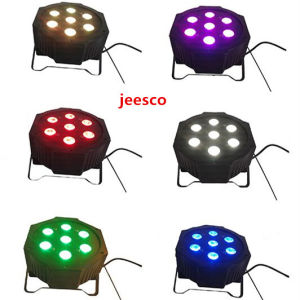 7PCS 12W 4in1 RGBW Plastic Flat LED PAR Light for Stage Disco Party pictures & photos