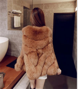 Winter Coat Faux Silver Fox Fur Coat Hooded Vest Stripe Medium-Long Vest Large Size Women