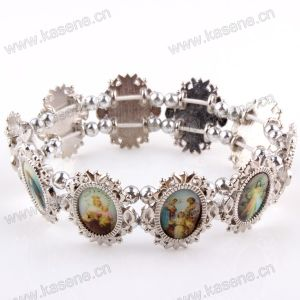 Fashion Silver Ellipse Holy Mixed Saint Images Sharp Metal Rosary Bracelet