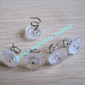 China 13mm Clear Plastic Head Upholstery Twist Pins Thumb Tack