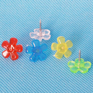 Stationery Coloured Plastic Wintersweet Push Pin (QX-HP005) 14*15mm