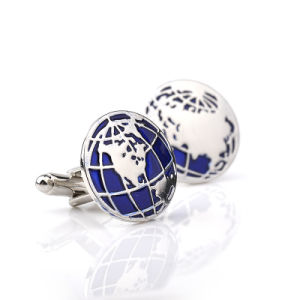 Zinc Alloy World Map Cufflinks Globe Traveler Blue Color Enamel Silver