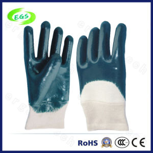 10′′ Knitted Wrist and Interlock Liner Nitrile Glove pictures & photos