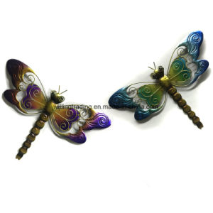 New Metal Dragonfly W. Glass Wall Plaque Garden Decoration
